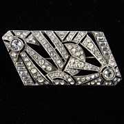 Art Deco Fireworks - French Silver and Paste Brooch