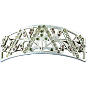 SOLD Art Nouveau Aluminum Barrette with Multicolored Rhinestones