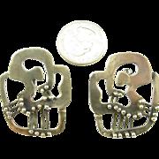 SALE Large Frank Miraglia Silver Earrings
