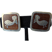 Los Ballesteros Earrings with Birds Inlaid into Wood