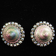Spectacular Earrings with Unusual Conical Art Glass Stones
