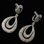 Vintage Marcasite and Sterling Double Hoop Drop Earrings