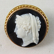 Victorian Hardstone Cameo of Hera Set in Gold