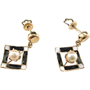 Gold Earrings with Black and White Enamel and Cultured Pearls