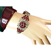 Spectacular Art Deco Red and Clear Rhinestone Bracelet