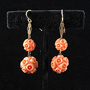 Carved Coral-colored Art Deco Earrings