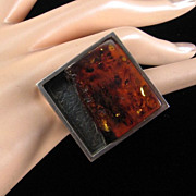Huge Modernist Amber and Sterling Ring