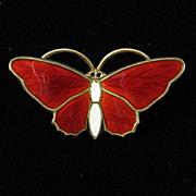 Red Enamel Aksel Holmsen Butterfly Brooch