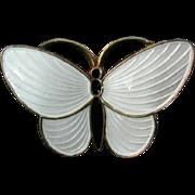Aksel Holmsen White and Black Enamel Butterfly Brooch