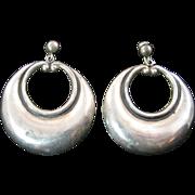 Large Mexican Silver Dangling Hoop Earrings