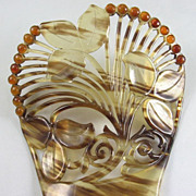 SOLD Art Nouveau Comb in Faux Tortoise and Amber Celluloid