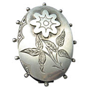 Victorian Aesthetic Movement Silver Brooch