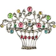 Colored Paste, Marcasite and Silver Flower Basket Brooch
