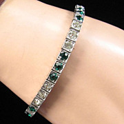Art Deco Green and Clear Rhinestone Line Bracelet