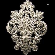 Fabulous Silver and Marcasite Fleur de Lys Brooch