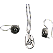 Sten and Laine Earrings and Pendant Set in Sterling and Rock Crystal