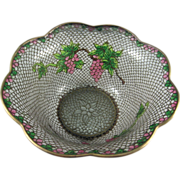 SALE Chinese Plique a Jour Bowl with Bunches of Grapes