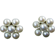 Cultured Pearl Flower Cluster Earrings with 14 Karat Gold Posts