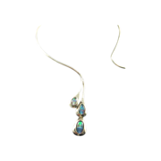 Modernist Sterling Silver Neck Ring with Opals
