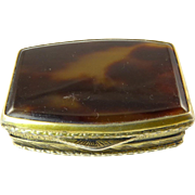 Tortoise Shell Pill Box with Engraved Gilt Silver Rim