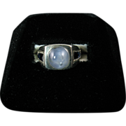 Art Deco Star Sapphire Ring Set in 14K White Gold
