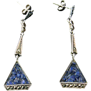Art Deco Earrings with Blue Moulded Glass and Marcasites in 800 Silver