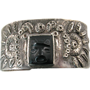Early Mexican Silver Cuff Bracelet with Serpents and Obsidian