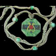 SALE Art Deco Egyptian Revival Celluloid Necklace