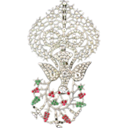 Large Saint Esprit Pendant in Rock Crystal and Paste