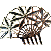Huge Celluloid Hair Comb with Black Flowers