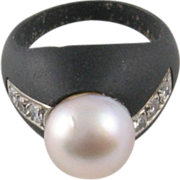 Marsh & Co. Steel, Diamond, and Cultured Pearl Ring