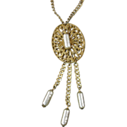 Miriam Haskell Pendant Necklace with Elongated Faux Pearls