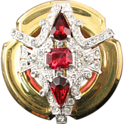 McClelland Barclay Round Brooch with Ruby Rhinestones