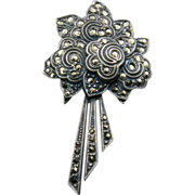 Art Deco Sterling and Marcasite Flower Bouquet Clip