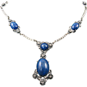 Wachenheimer Art Deco Sterling Necklace with Blue Stones