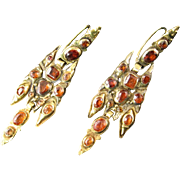 Rare 18th Century Catalan Hessonite Garnet Earrings
