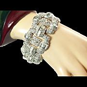 Wide Art Deco Rhinestone Bracelet