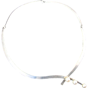 Esther Lewittes Sterling Silver Necklace with Cultured Pearls
