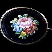 Victorian Micromosaic Brooch of Basket of Flowers