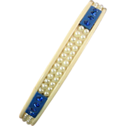 Art Deco Celluloid Sparkler Bangle with Blue Rhinestones and Faux Pearls