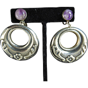 Large Mexican Hoop Earrings with Amethysts