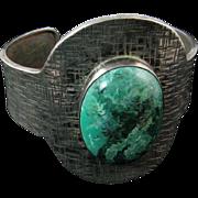 Modernist Israeli Silver Cuff Bracelet with Eilat Stone