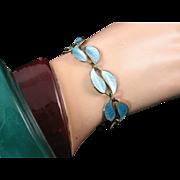 David Andersen Pale Blue Enamel Bracelet in Double Leaf Pattern