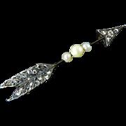 Victorian Rose-Cut Diamond Arrow Brooch
