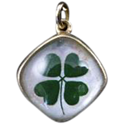 Reverse Carved Intaglio Charm with Four Leaf Clover set in 14 Karat Gold
