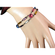 Art Deco Multicolored Paste Bracelet Set in Sterling