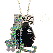 Monumental Margot de Taxco Maya Profile Brooch Pendant