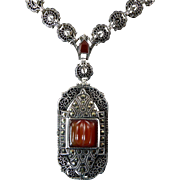 Art Deco Sterling, Marcasite, and Carnelian Filigree Necklace