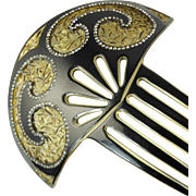 Huge Celluloid Hair Comb with Pierced Swirls and Rhinestones