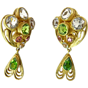 Gilt Filigree Earrings with Peridot, Pink, and Clear Rhinestones
